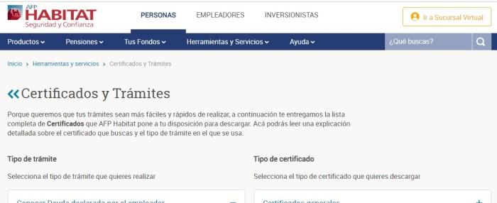 Certificados AFP Habitat