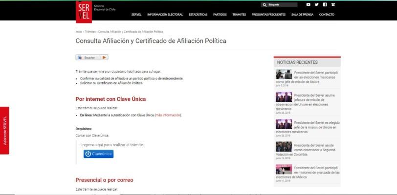 certificado de afiliacion politica
