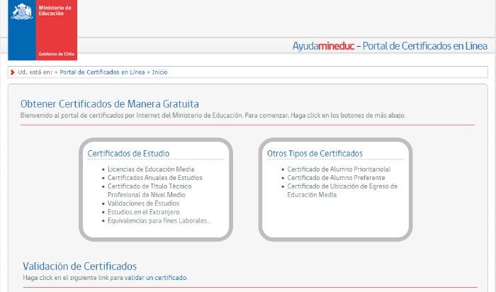 web de certificados
